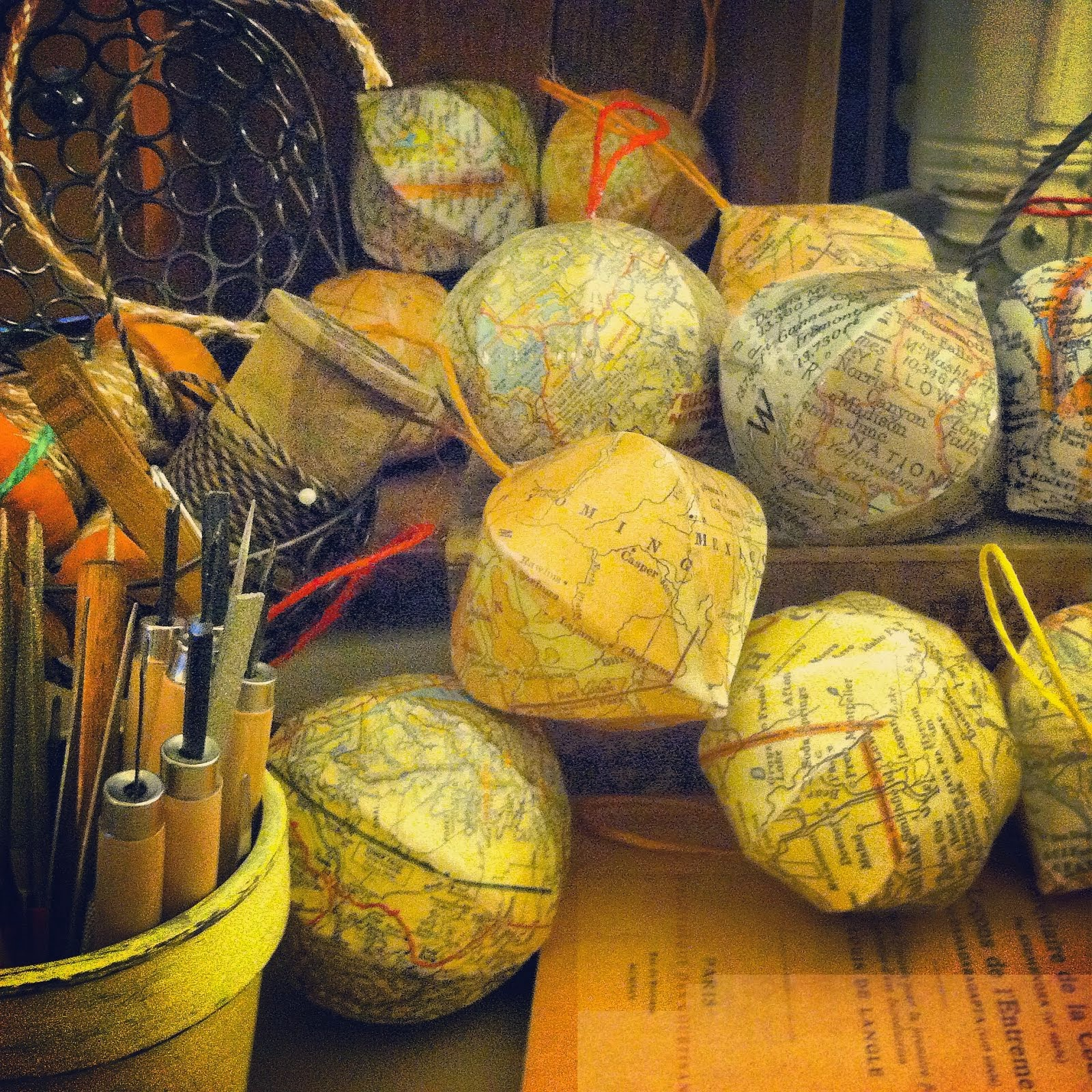 custom order vintage map ornaments/globes