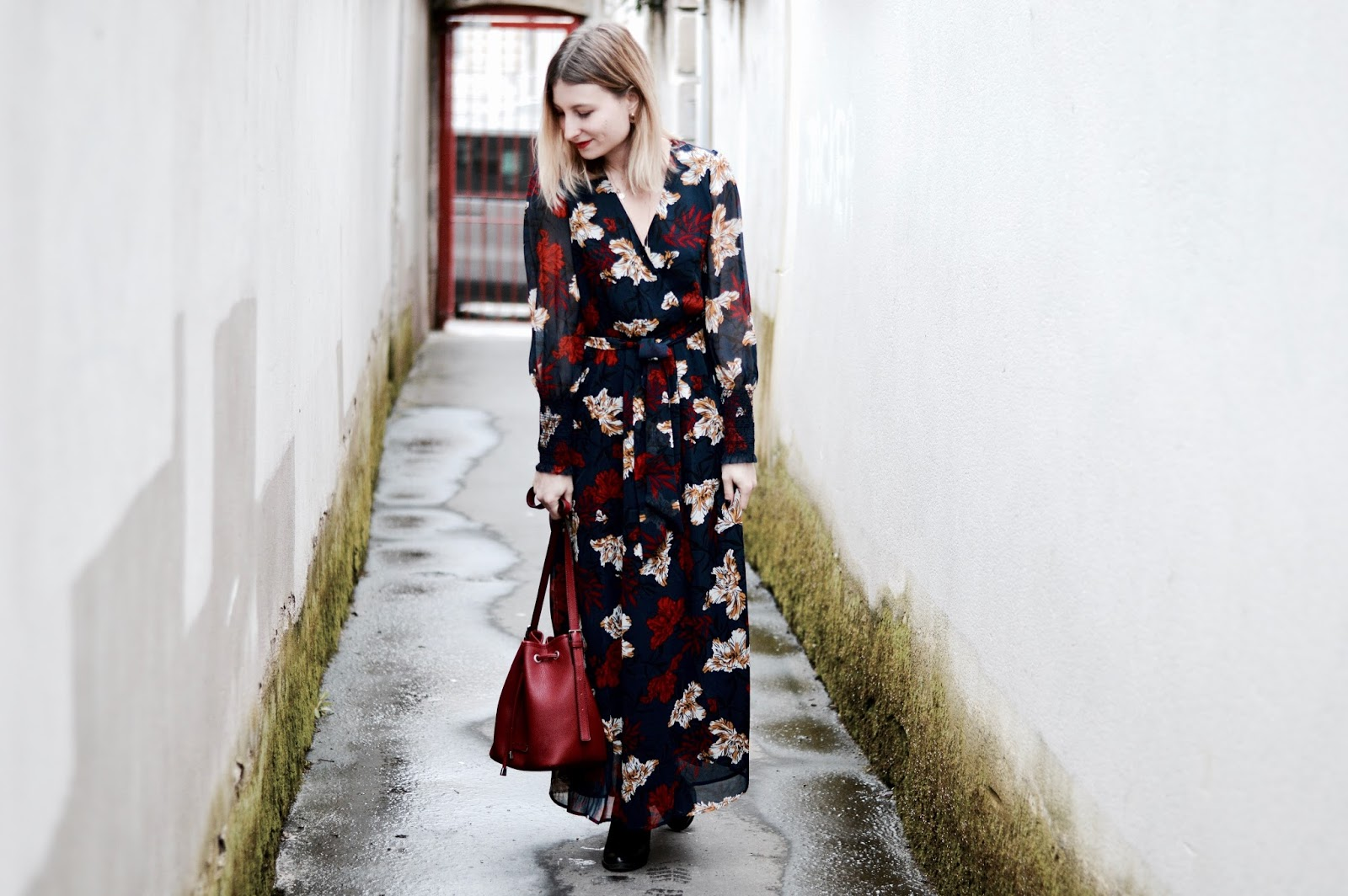 look femme : robe longue fleurie La Redoute Happy Mix
