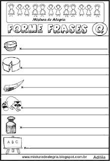 Formar frases com desenhos, letra Q