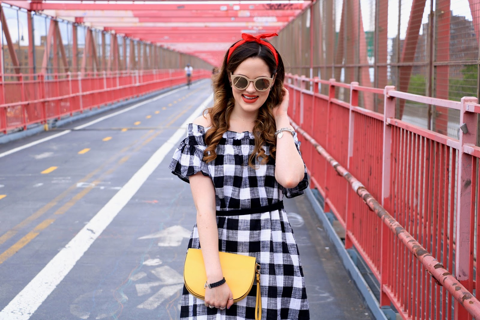 New York fashion blogger Kathleen Harper in gingham off-the-shoulder Anthropologie dress