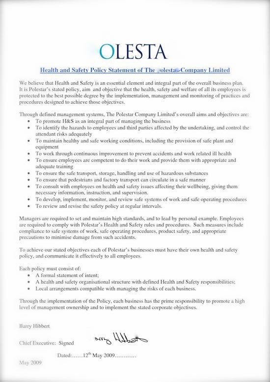 Safety Risks How to Write a Health and Safety Policy - sample health and safety policy