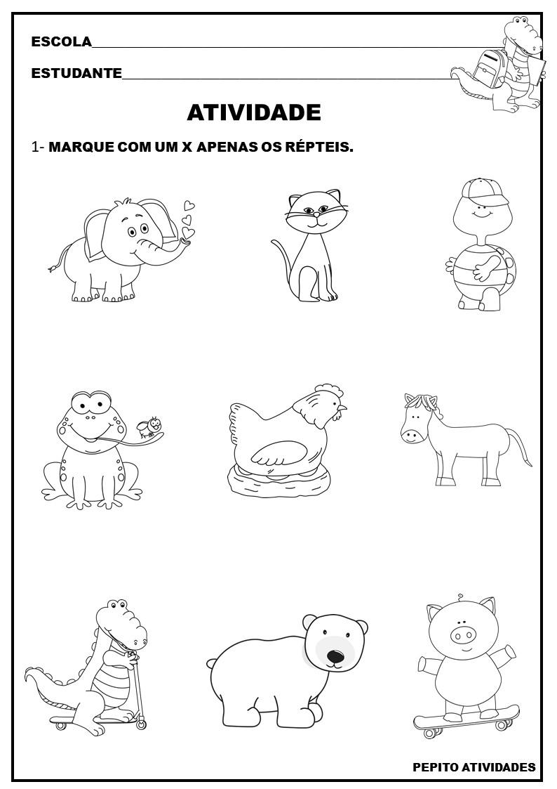 Atividade Para Imprimir Animais Repteis