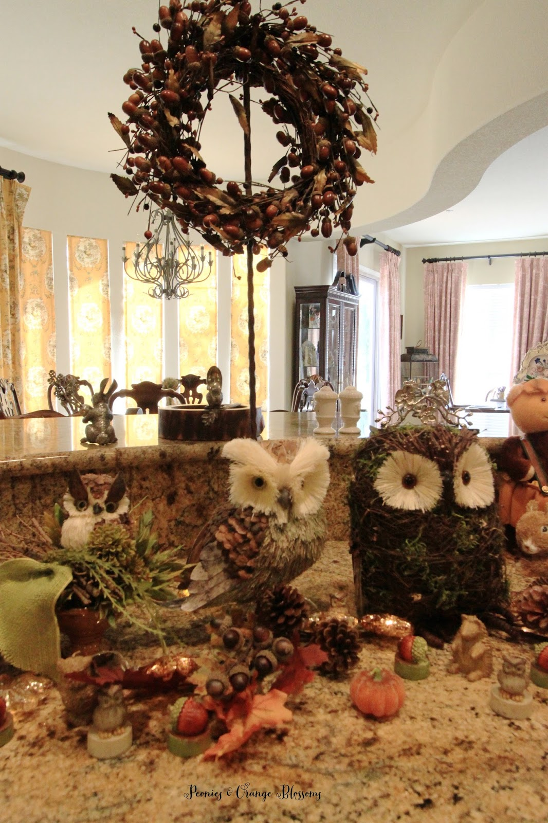 Rustic Fall decor with owls