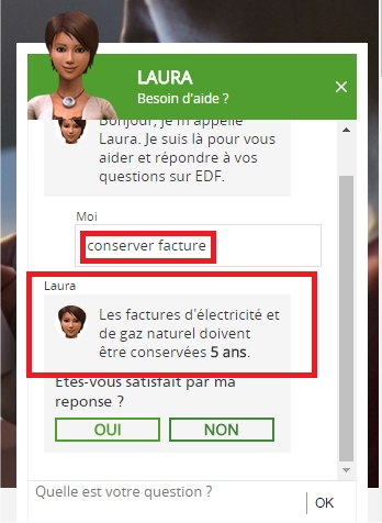 capture d'écran du site EDF - Laura
