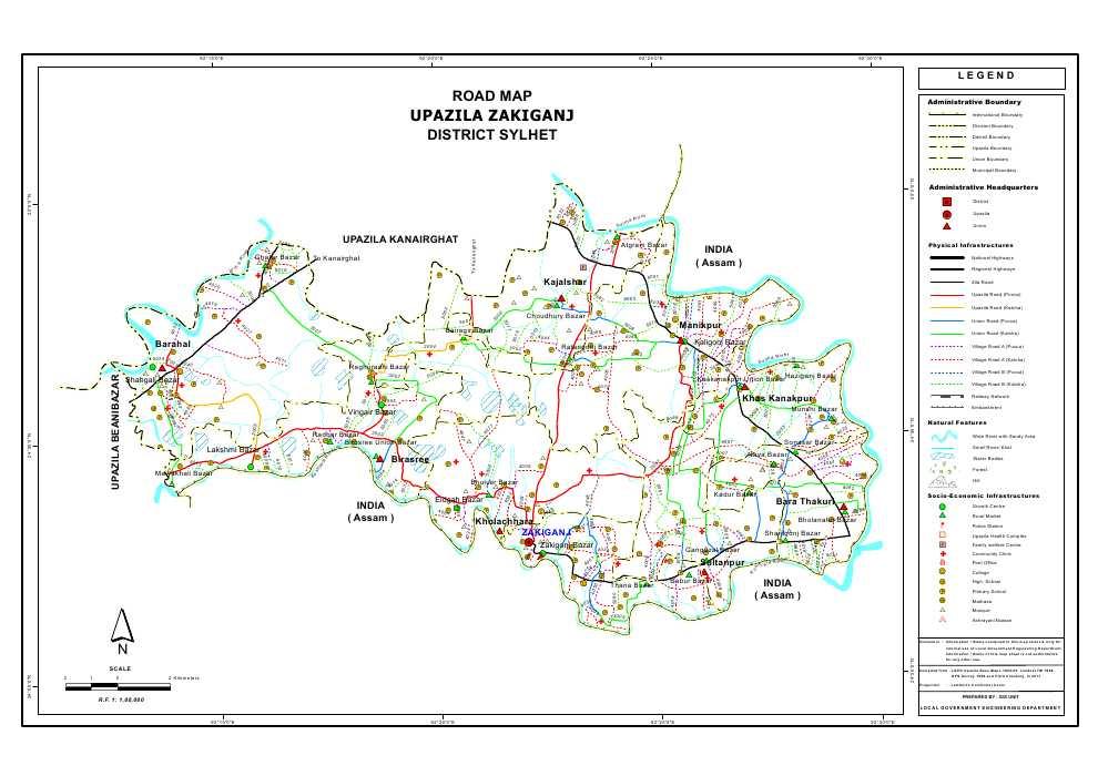 Zakiganj Upazila Road Map Sylhet District Bangladesh