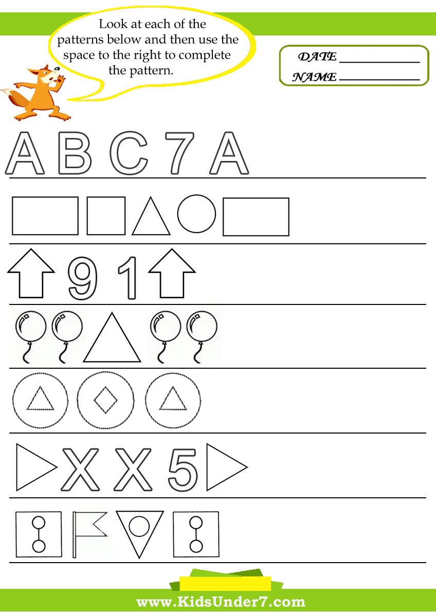 Geometric Shapes Patterns Worksheets | World of Reference