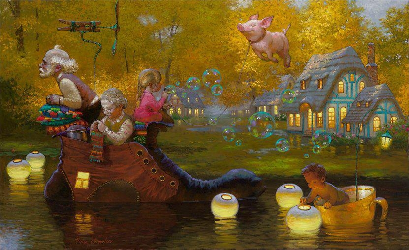 12-When-Pigs-Fly-Victor-Nizovtsev-Daydreaming-with-Fantasy-Oil-Paintings-www-designstack-co