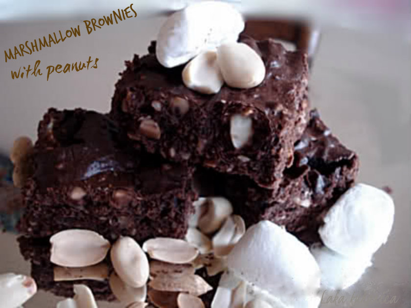 Marshmallow brownies with peanuts by Laka kuharica: peanuts and marshmallows make these rich brownies insanely delicious.