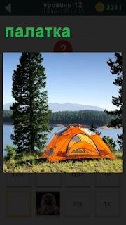 На берегу речки стоит палатка желтого цвета около высокого дерева, но без туристов в ожидании