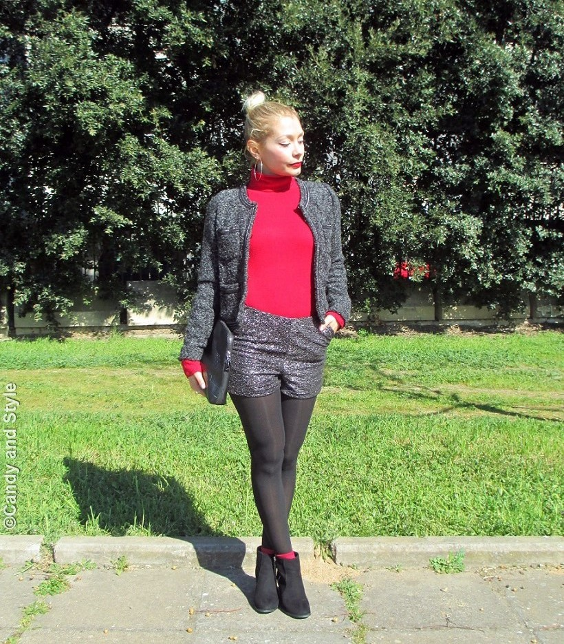 BoucléJacket+RedTurtleneck+SilverShorts+AnkleBoots+BlackClutch+TopKnot+RedLips - Lilli Candy and Style Fashion Blog