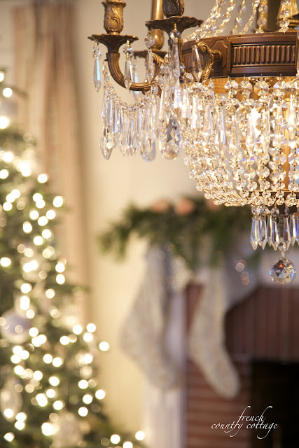 Christmas tree and crystal chandelier