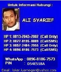 Kontak Info Lowongan Kerja Ke Luar Negeri  - Ali Syarief 0877-8195-8889 - 081320432002-Pin D54E51BA