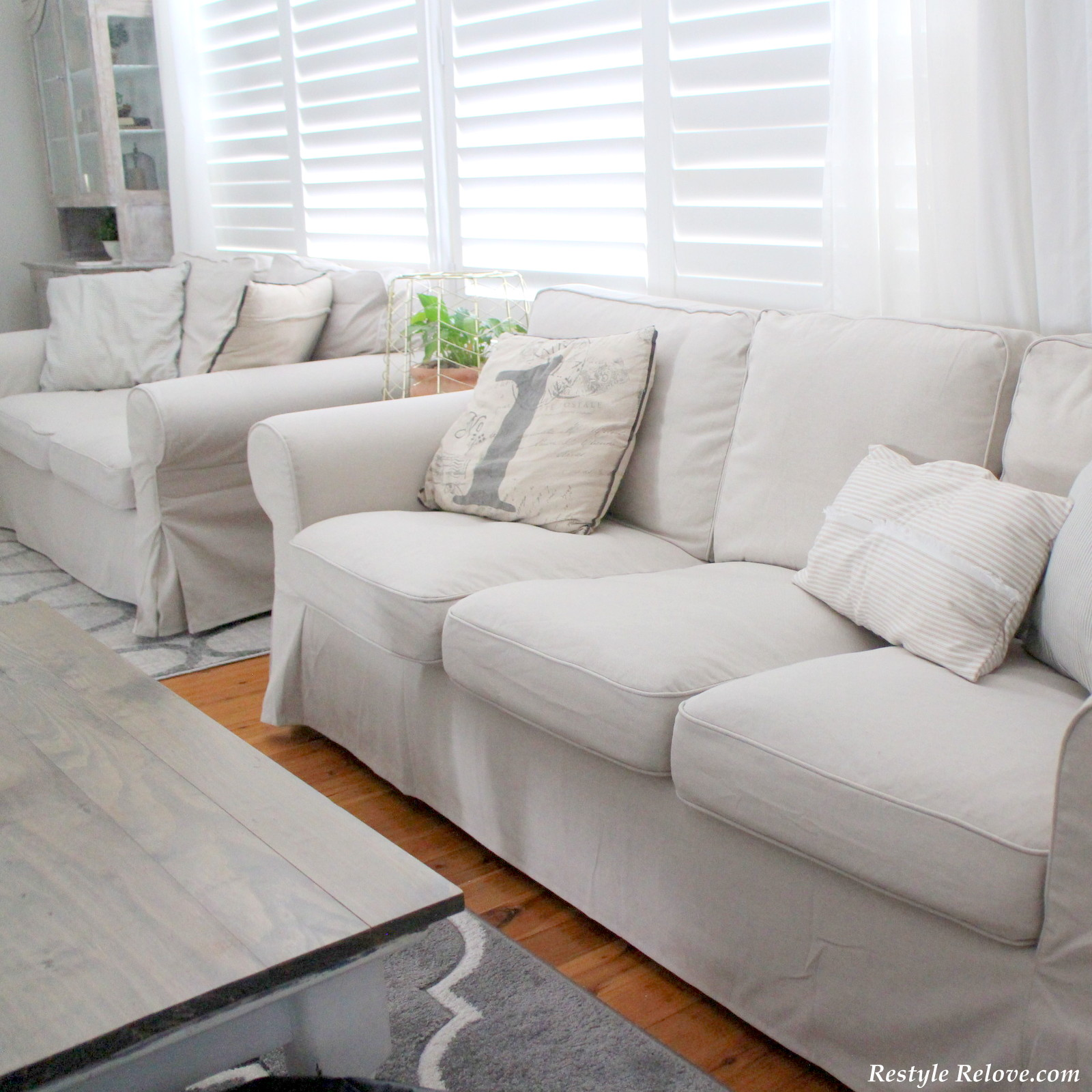 beige chair covers buy and a half glider with ottoman my new ikea ektorp sofa in lofallet