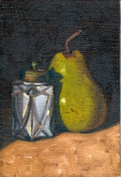 Oil painting of an Art Deco salt shaker casting a shadow on a green pear.