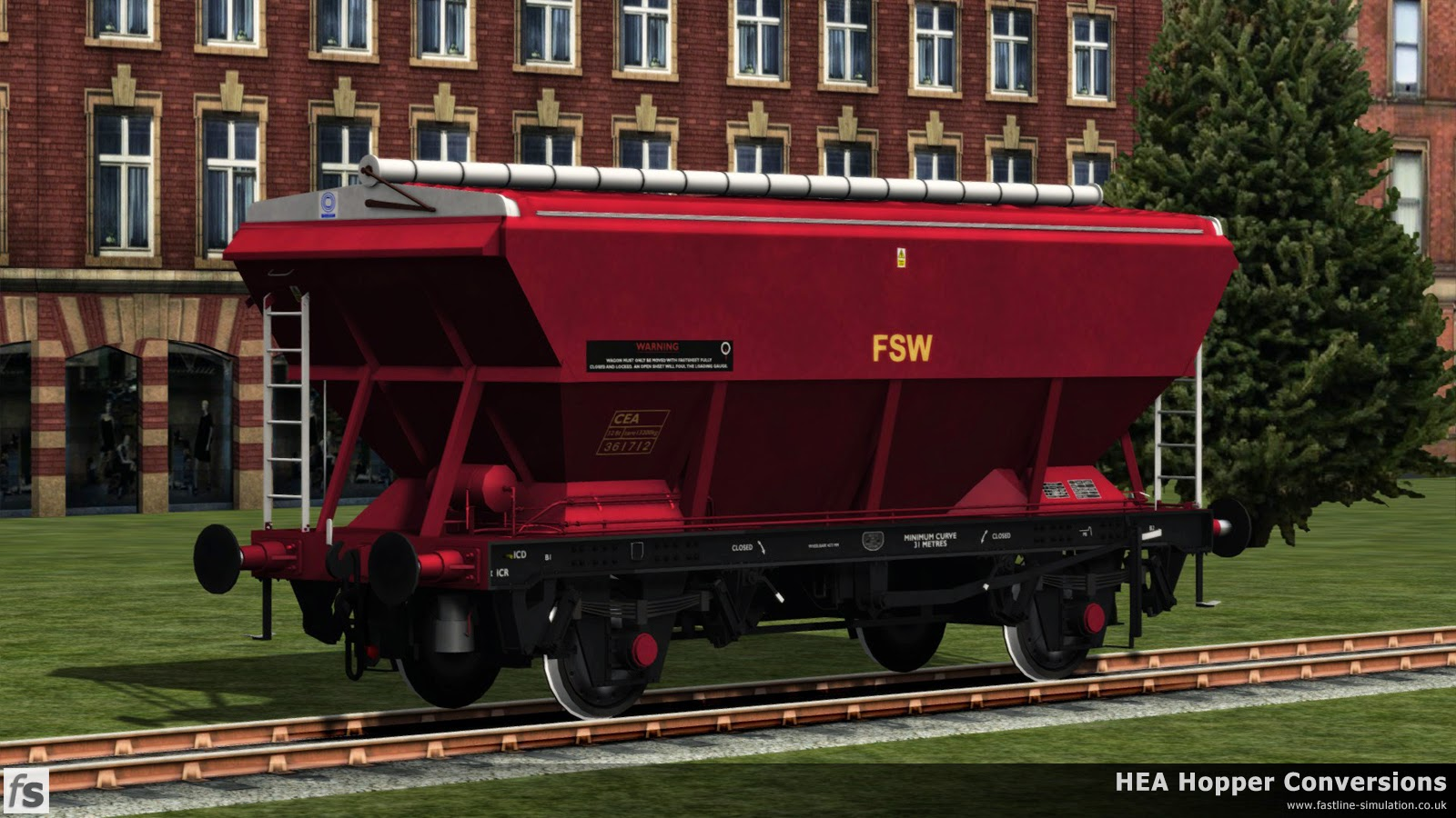 Fastline Simulation - HEA Conversions: A few CEA hoppers did manage to gain a coat of full red and gold livery complete with branding. The wagon also carries a more recent warning notice about the covers which appears on some hoppers.