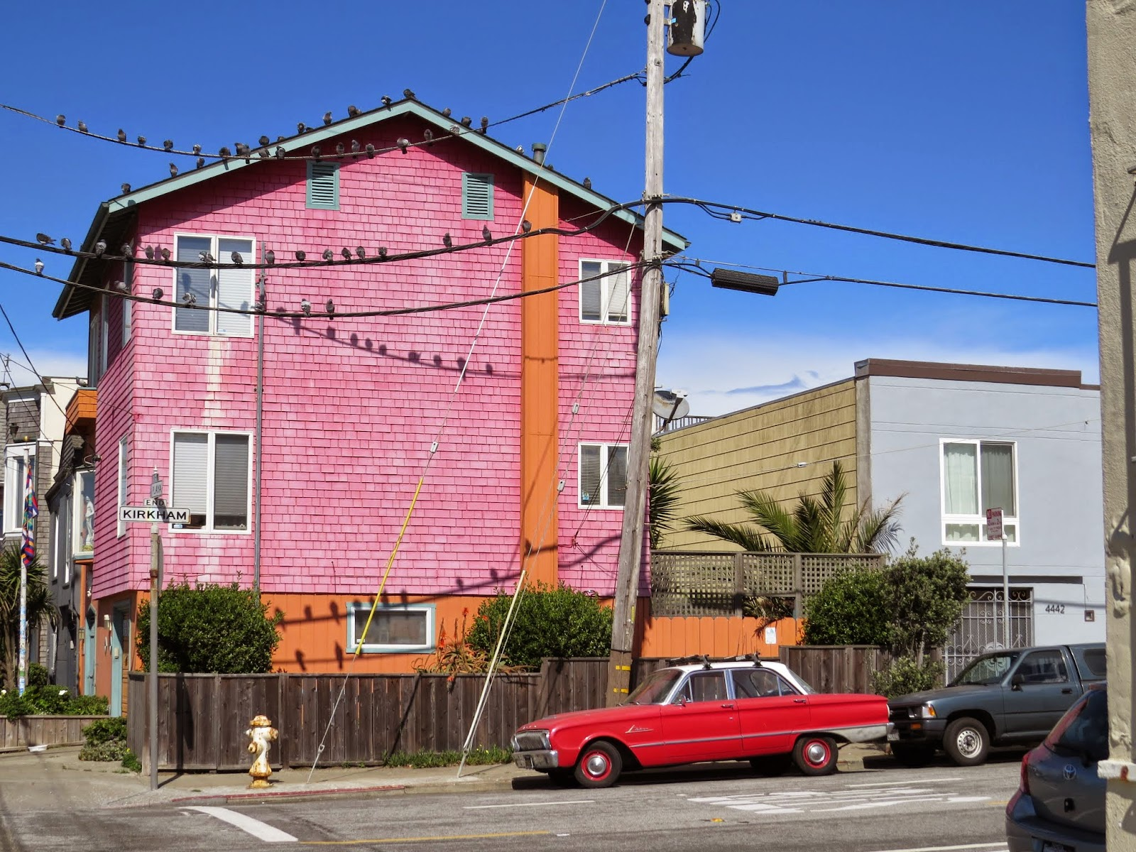 Pink house in the Outer Sunset in San Francisco