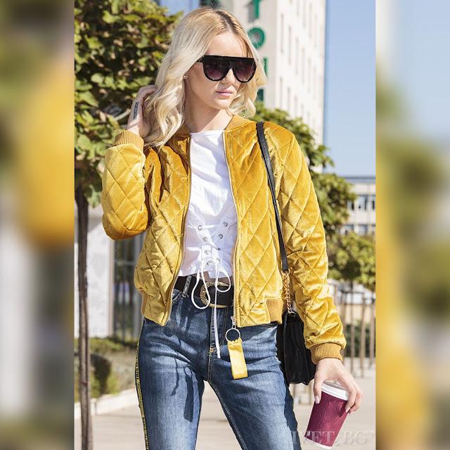 Μοντέρνο  κίτρινο γυναικείο μπουφάν MARVEN YELLOW