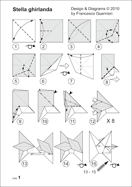 Origami diagrams, Stella ghirlanda – Star garland © by Francesco Guarnieri