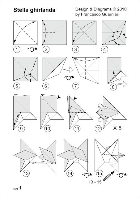 Origami diagrams, Stella ghirlanda – Star garland © by Francesco Guarnieri
