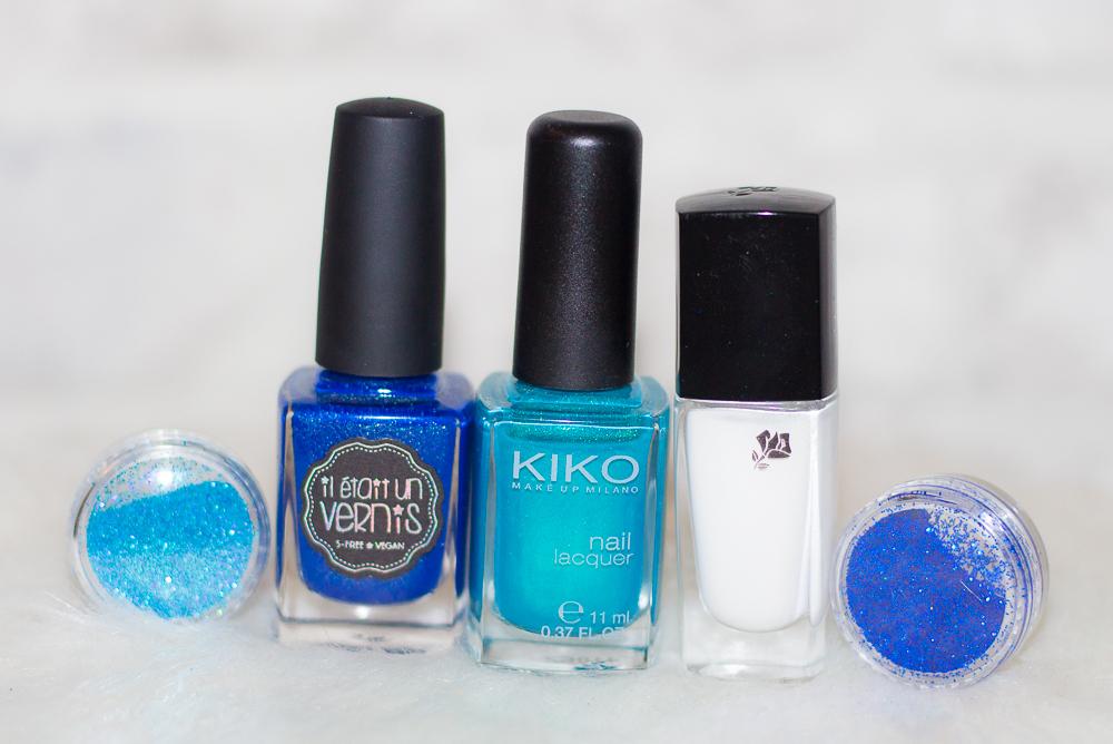 vernis - bleu - blanc - paillettes