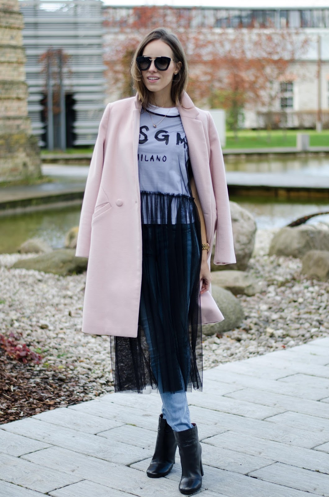 sheer tulle dress over jeans outfit
