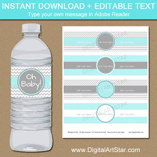 printable boy baby shower water bottle labels in aqua and gray