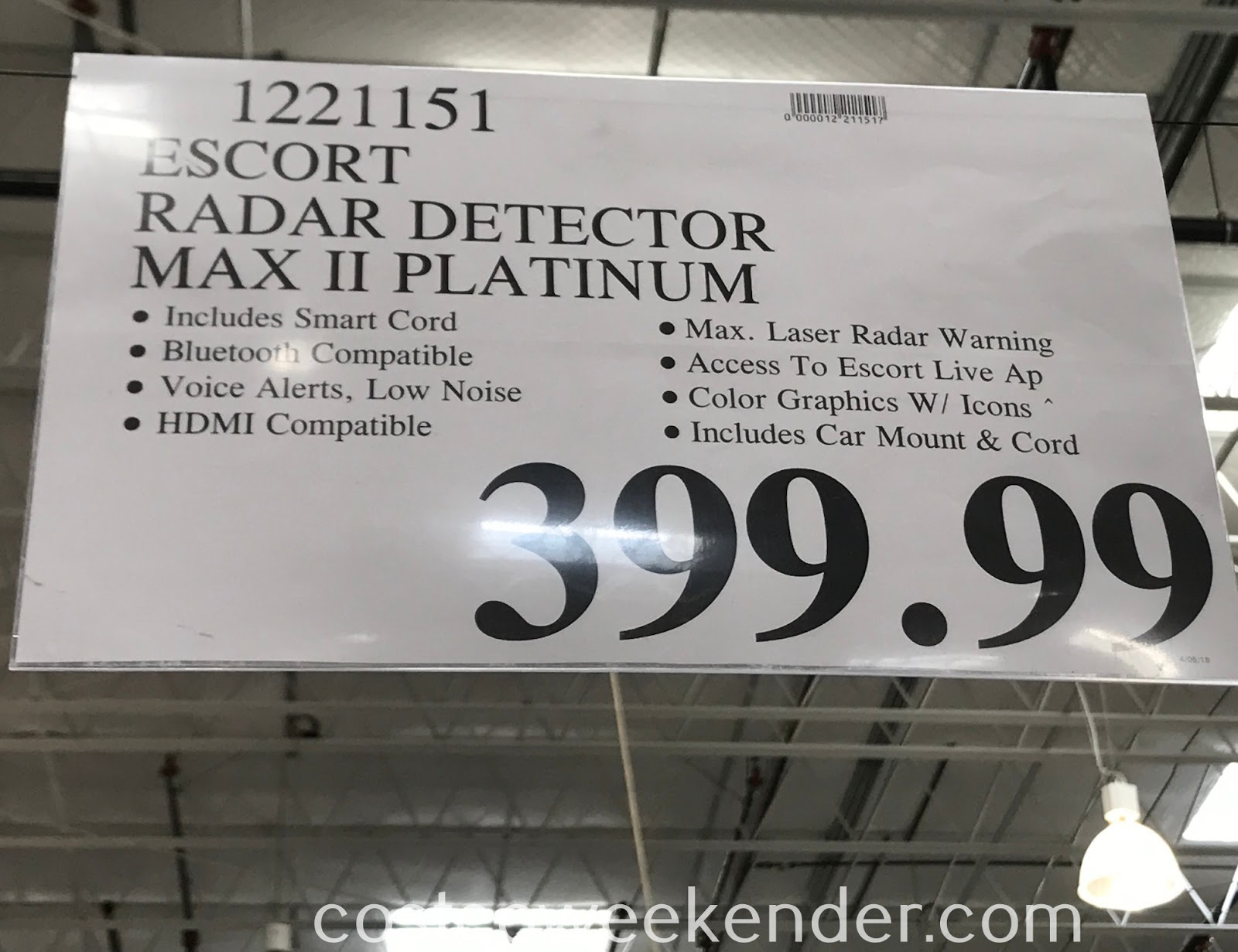 Deal for the Escort Max II Platinum Radar Detector at Costco