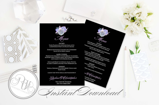 Lilac Purple & Mint Succulent Menu Template