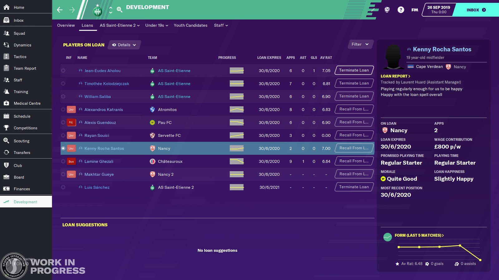 The loans overview screen in Football Manager 2020