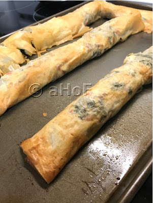Kale & Feta Strudel straight from the oven