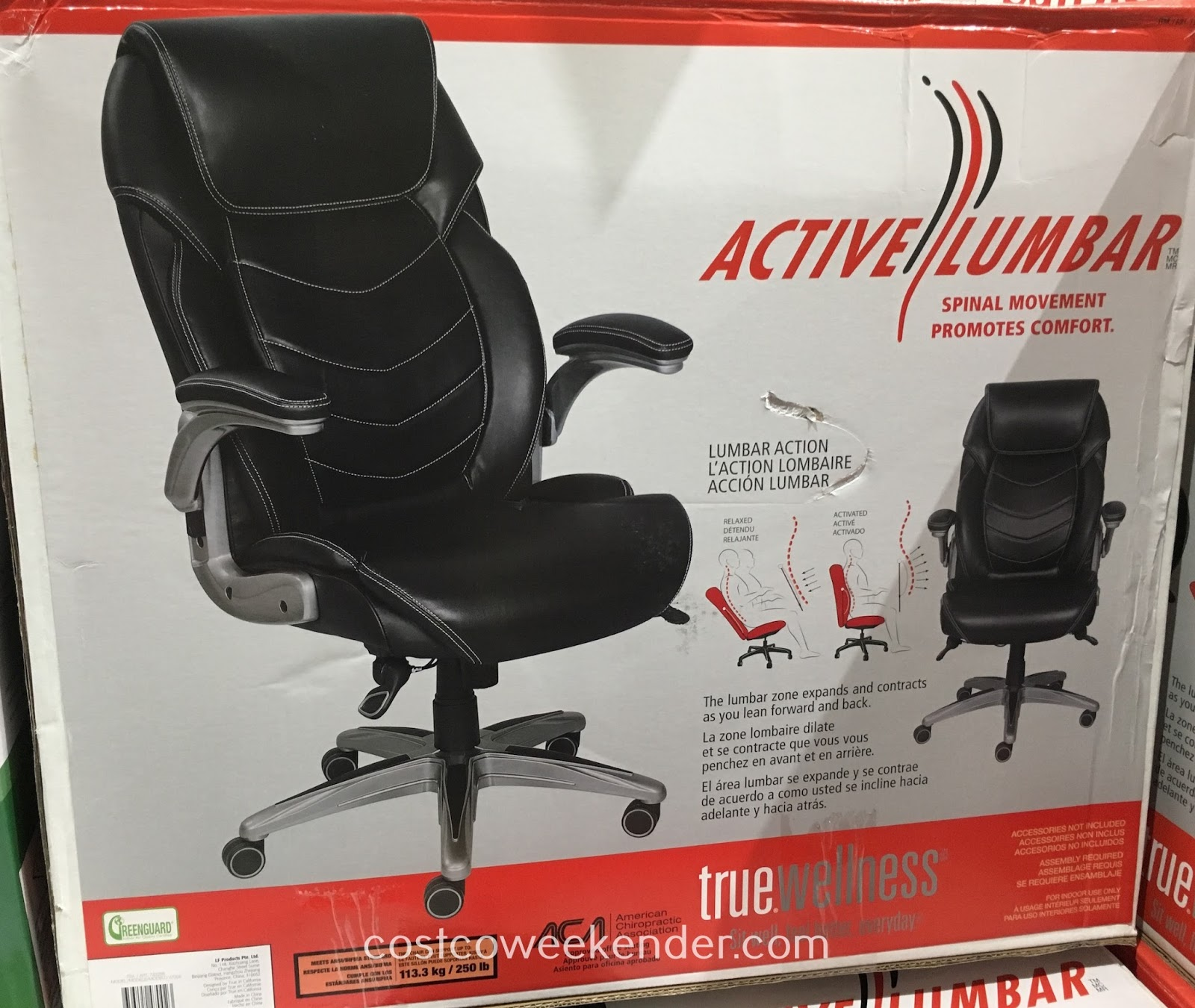 True Innovations True Wellness Active Lumbar Chair Costco Weekender