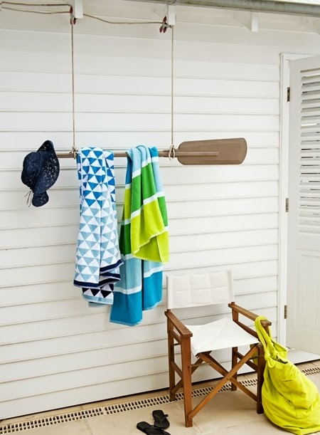 hanging oar rack towel holder idea