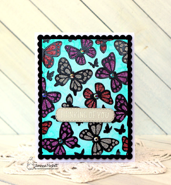 Duo of Stenciled Butterfly Cards by Larissa Heskett | Butterflies Stencil Set, Frames & Flags Die Set and Banner Trio Die Set by Newton's Nook Designs #newtonsnook #handmade