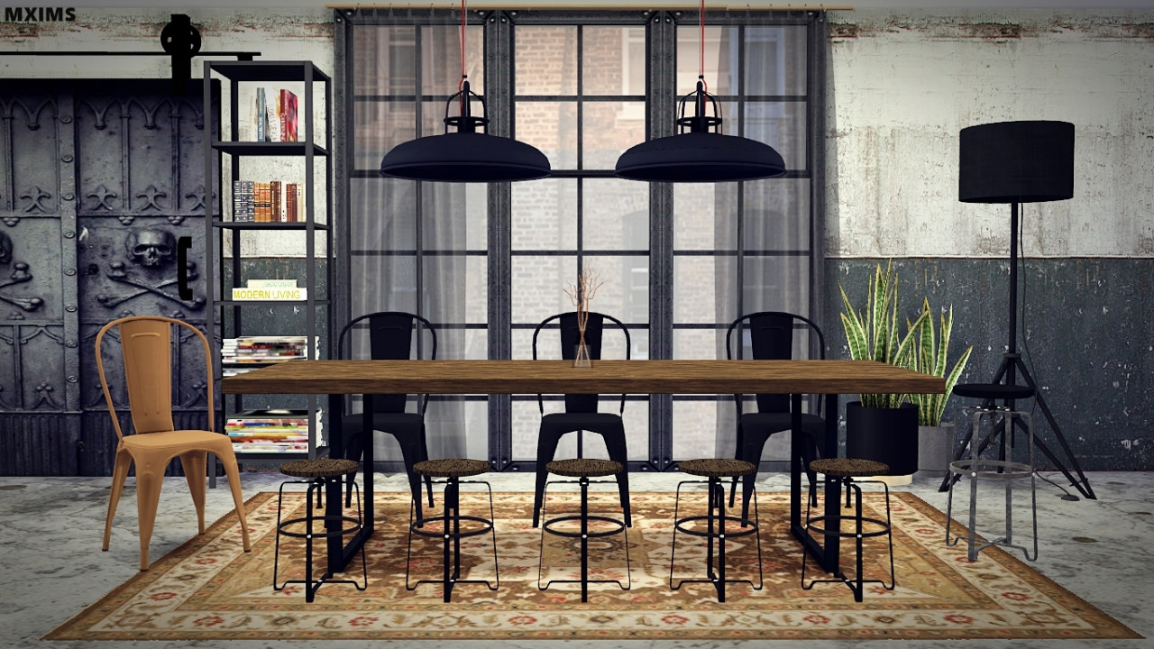 My Sims 4 Blog Industrial Dining Room Set by MXIMS