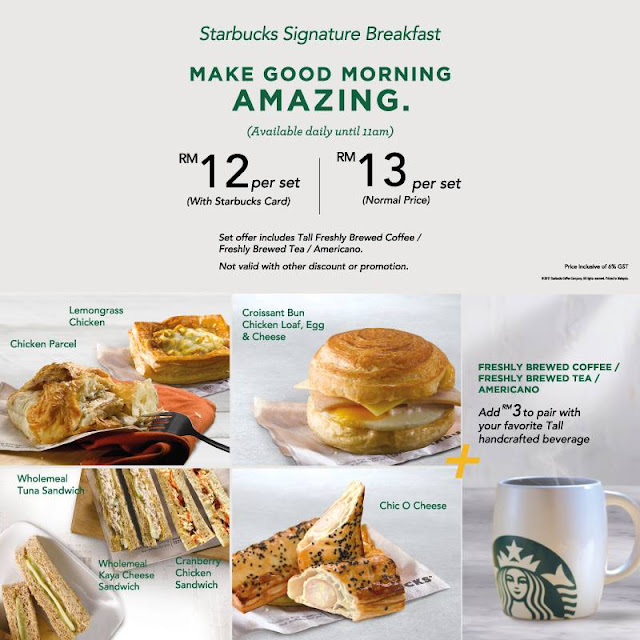 Starbucks Malaysia Signature Breakfast Set Meal Discount Promo