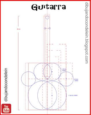dibujo técnico de una guitarra, como dibujar una guitarra, dibujo para principiantes, clases gratis de dibujo , delein padilla, dibujando con delein, dibujo técnico