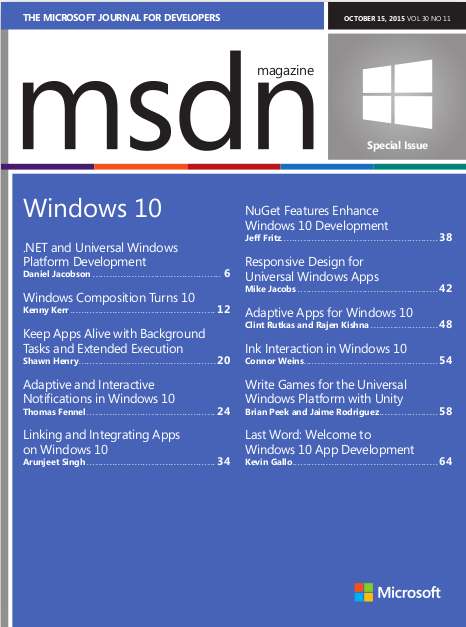 FREE MSDN Magazine Windows 10 Special Issue - Android learn