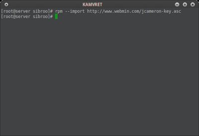 Kemudian install webmin GPG key nya