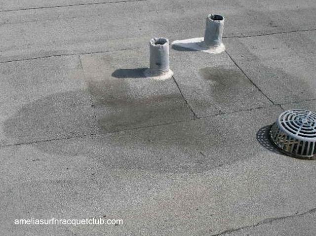 Superficie de un techo con retención de agua