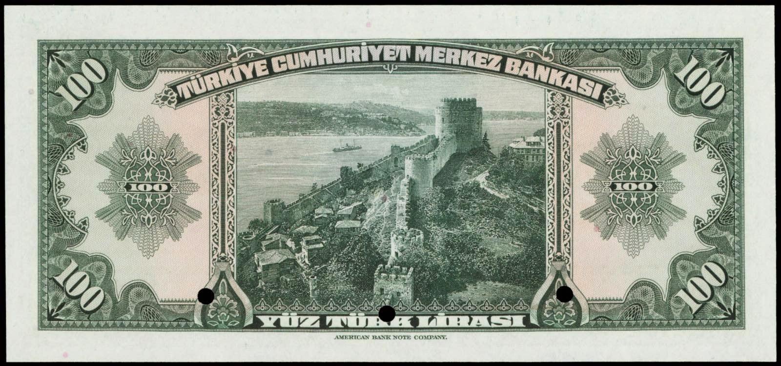 100 Turkish Lira bill
