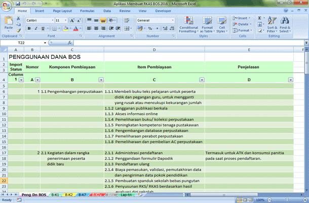 Aplikasi untuk Membuat RKAS BOS 2016 Format Microsoft Excel