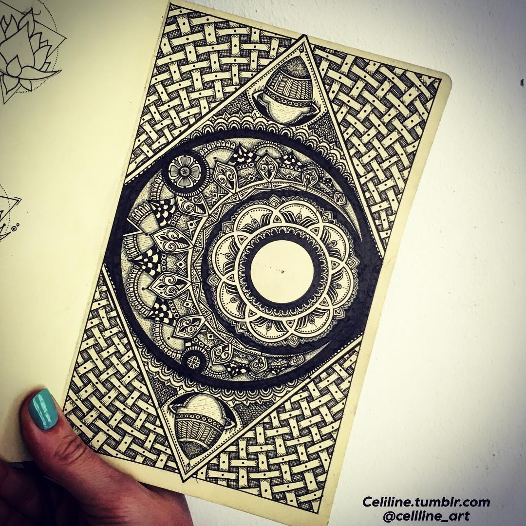 Drawings by Celine 06-Celine-Silence-Lines-Art-Mandalas-Zentangles-and-Stippling-Drawings-www-designstack-co