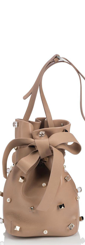 Jimmy Choo Eve Studded Leather Bucket Bag in Ballet Pink