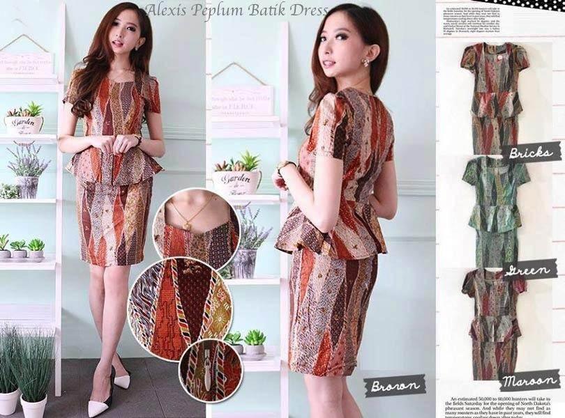 Jual Baju Batik Alexis Peplum Batik Dress - 12610