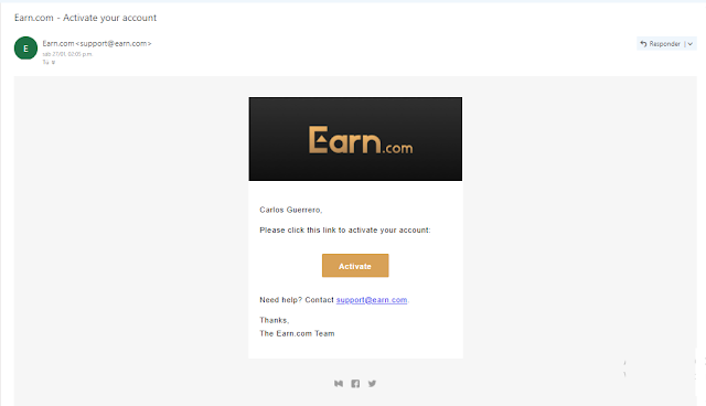 Correo de activacion Earn.com