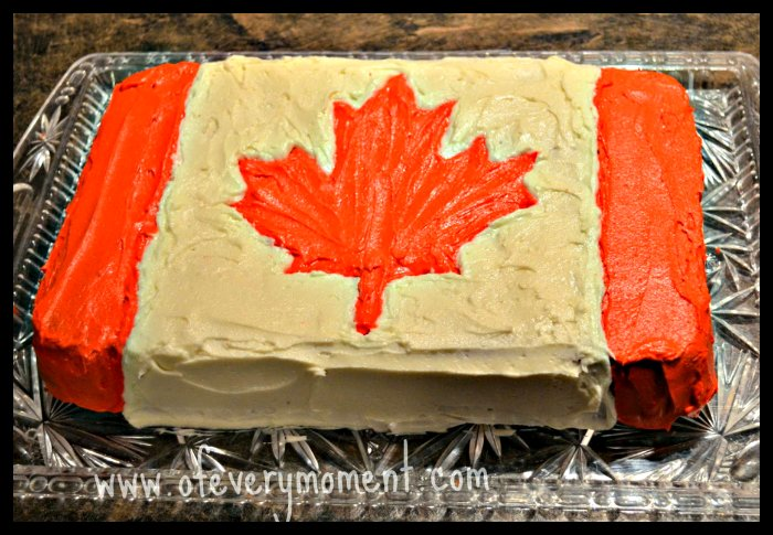 Maple Cake, decorated with the Canadian flag