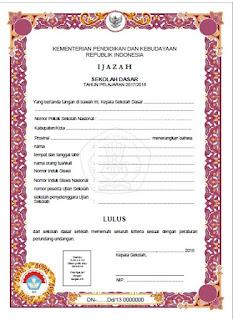 Contoh Juknis Penulisan Ijazah sd 2017/2018