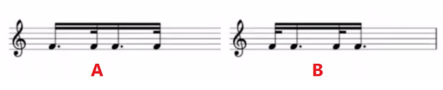 Use these rhythms to play semiquavers evenly