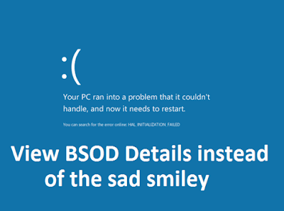 How to View BSOD Details instead of the sad smiley « ITN Today