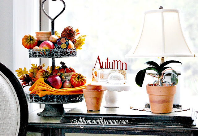 French-chair-fall-decorating-clay-pots-Autumn-tired-tray-orange-pumpkins-figs-how to decorate-jemma